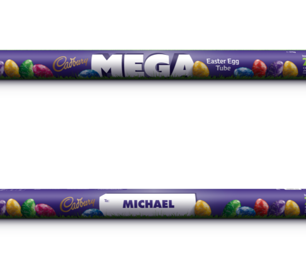 **Cadbury Megatube**  <br><br> This is literally a giant tube, filled with 28 delicious chocolate eggs. Plus, you can pick out a personalised tube with your loved one's name emblazoned on the label.  <br><br> *$20, from Big W*