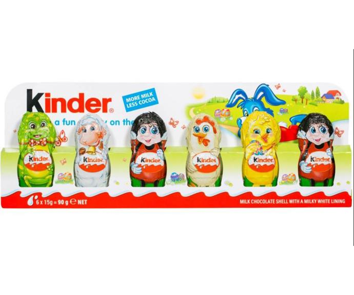 **Kinder Surprise Figurines** <br><br> These are cute to give as a gift for a group of kids to share amongst themselves - and fight over who gets which figurine! <br><br> *$4.50, from Woolworths and Coles*
