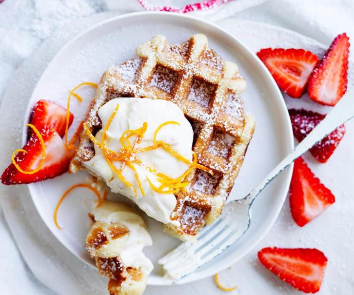 **Waffles with marmalade ricotta:** These decadent waffles with marmalade ricotta might look fancy, but they're surprisingly simple to pull together, making them a gorgeous choice for a Mothers' Day breakfast in bed. *Image: Australian Women's Weekly.*