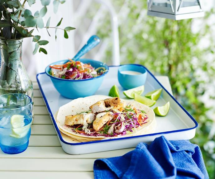 "**Julie Goodwin's fish tacos** <br><br> Escape to summer with Julie Goodwin's fresh and delicious fish tacos - quick and easy, and simply divine! <br><br> See the full *Australian Women's Weekly* recipe [here](https://www.womensweeklyfood.com.au/recipes/julie-goodwins-fish-tacos-29336|target=""_blank"")."