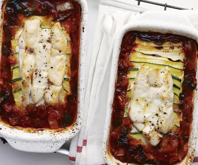 "**Fish Provençale** <br><br> Deeply savoury and rich with tomato and Mediterranean vegetables, this simple baked fish dish makes and excellent shared lunch or dinner. <br><br> See the full *Australian Women's Weekly* recipe [here](https://www.womensweeklyfood.com.au/recipes/fish-provencale-9742|target=""_blank"")."