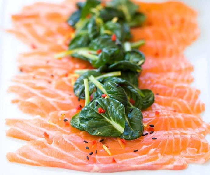 "**Salmon carpaccio** <br><br> Presentation is the key with this simple and light salmon carpaccio recipe by Madison. A simple, plain white dish is all you need to allow the colour of the salmon and salad to 'pop'. <br><br> See the full *Australian Women's Weekly* recipe [here](https://www.womensweeklyfood.com.au/recipes/salmon-carpaccio-22867|target=""_blank"")."