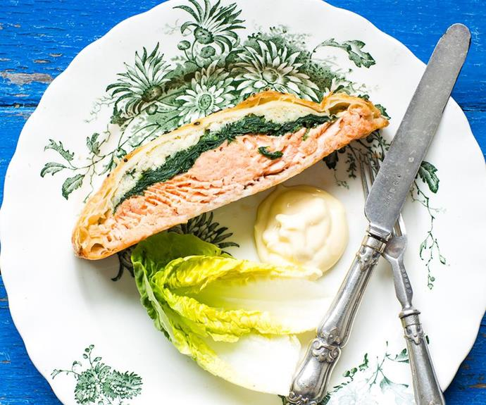 "**Salmon Wellington** <br><br> An impressive dish with attractive layers of golden pastry, greens and vibrant salmon. <br><br> See the full *Australian Women's Weekly* recipe [here](https://www.womensweeklyfood.com.au/recipes/salmon-wellington-28614|target=""_blank"")."