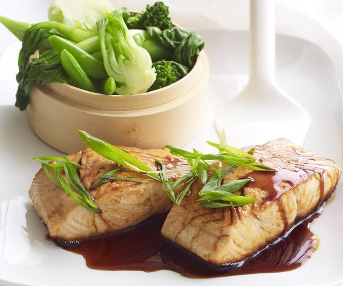 "**Teriyaki salmon** <br><br> Sticky and deeply savoury teriyaki sauce makes the perfect dressing for plump, rare-grilled salmon fillets. <br><br> See the full *Australian Women's Weekly* recipe [here](https://www.womensweeklyfood.com.au/recipes/teriyaki-salmon-9121|target=""_blank"")."
