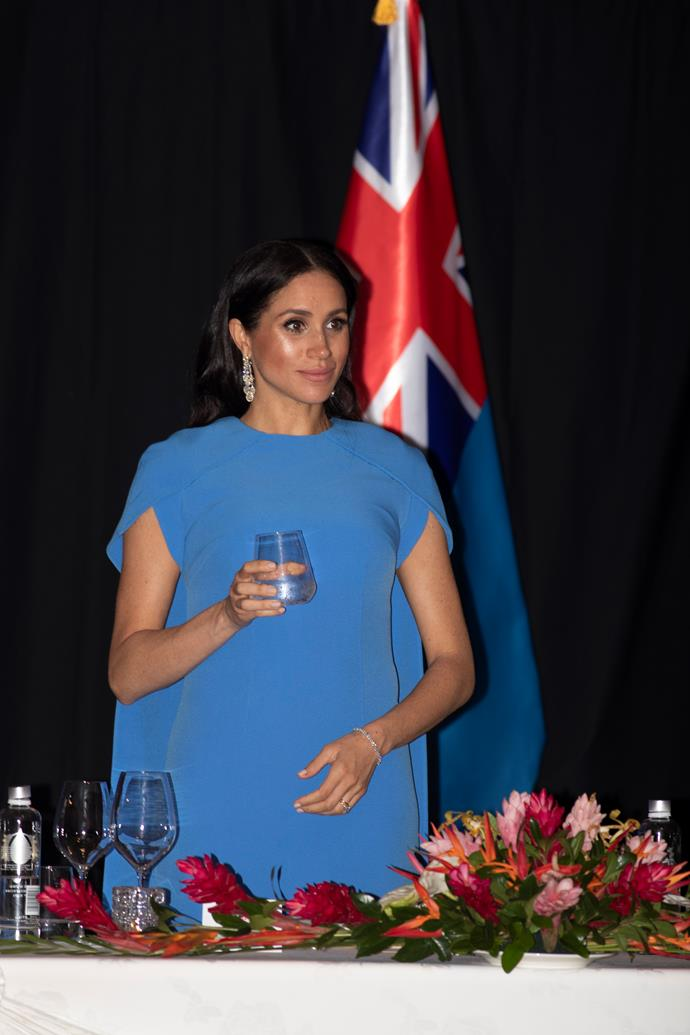 A new report claims that Meghan was denied wearing a tiara at a lavish state dinner in Fiji. *(Image: Getty)*