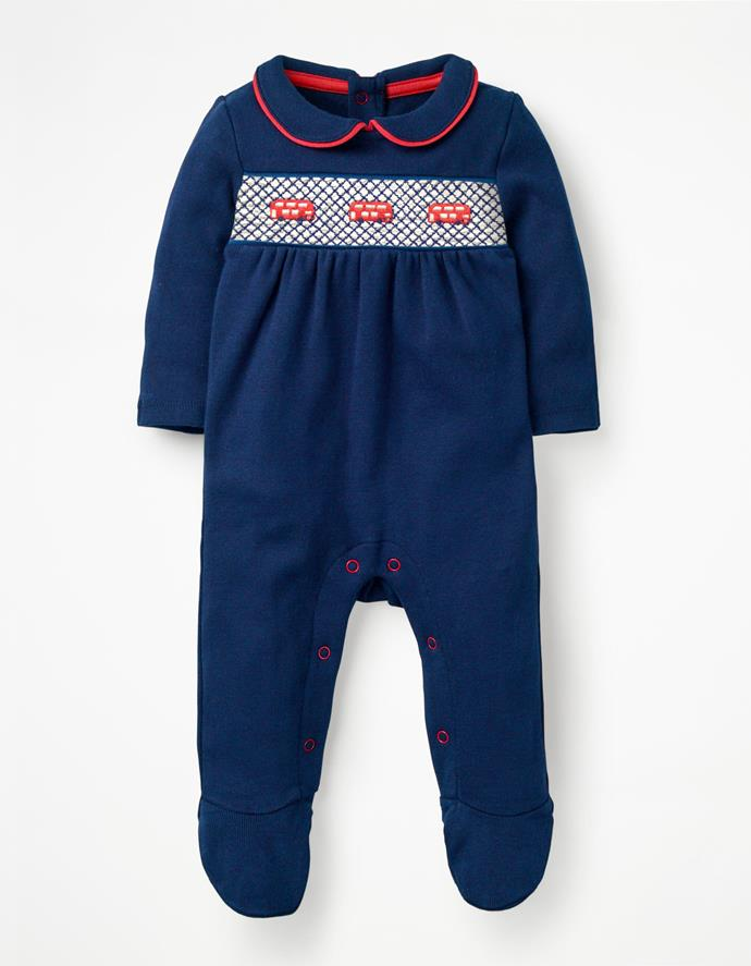 "Boden London sleepsuit, $35.20. Available [here](http://www.bodenclothing.com.au/en-au/baby-rompers-play-sets/rompers/y0367-blu/baby-beacon-blue_buses-london-sleepsuit|target=""_blank""