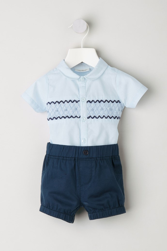 """Twinning! This blue smock shirt and shorts combo is available for $25 from [Next](https://www.next.com.au/en/g62266s11