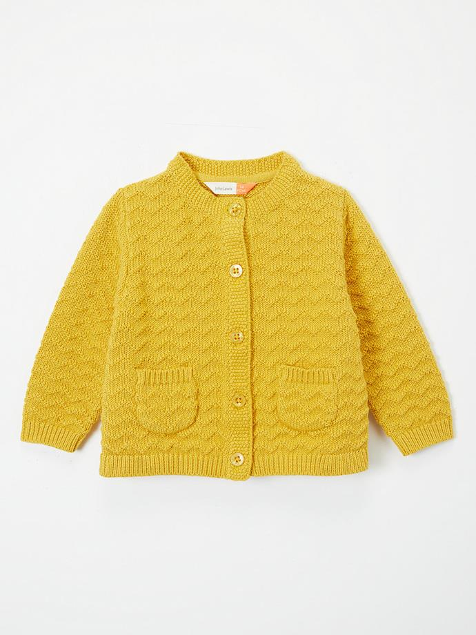 "This similar style from the same brand is sure to have the Princess' tick of approval! Available for $12 [here](https://www.johnlewis.com/au/john-lewis-partners-baby-crew-neck-stitch-cardigan-yellow/p3837338|target=""_blank""