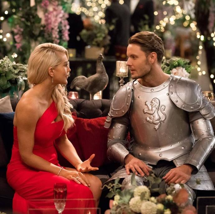Ali and Taite on the set of the *Bachelorette*. *(Source: Network Ten)*