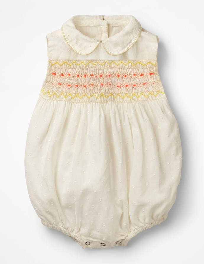 """This Boden embroieded romper looks just as regal! Available for $48 [here](http://www.bodenclothing.com.au/en-au/baby-rompers-play-sets/rompers/y0667-ivo/baby-ivory-nostalgic-smocked-romper