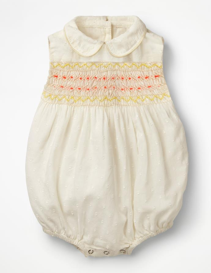 "This Boden embroieded romper looks just as regal! Available for $48 [here](http://www.bodenclothing.com.au/en-au/baby-rompers-play-sets/rompers/y0667-ivo/baby-ivory-nostalgic-smocked-romper|target=""_blank""