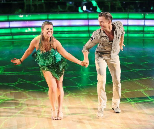 Bindi and her dance partner Derek Hough strutting their stuff on the dance floor in 2015. *(Image: ABC)*