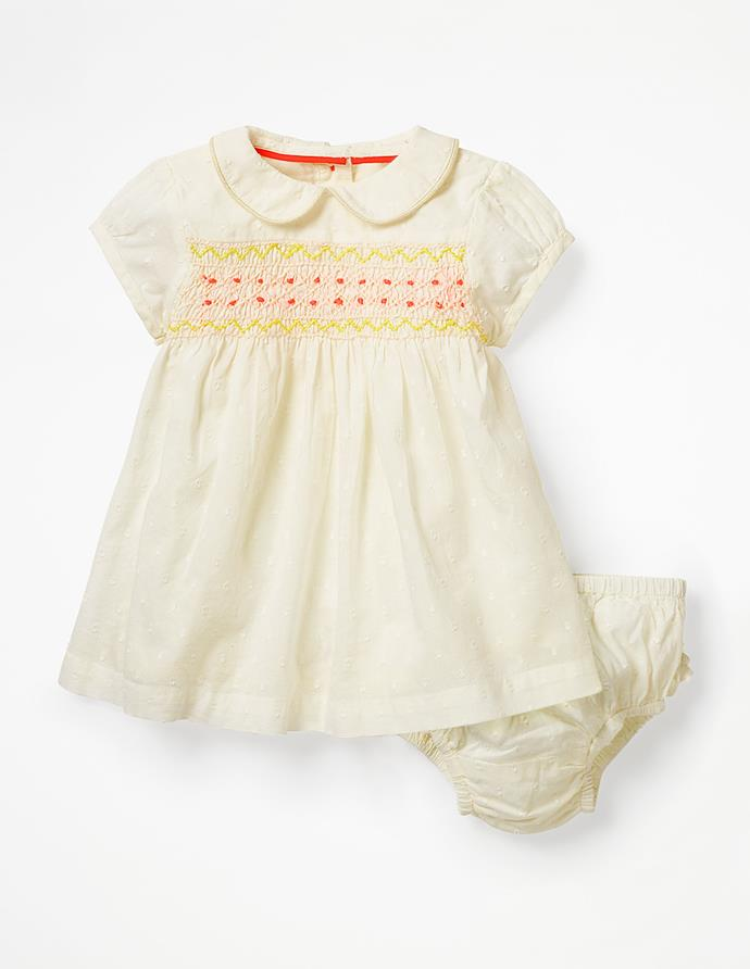 "Boden Nostalgic smocked dress, $48.00. Available [here](http://www.bodenclothing.com.au/en-au/baby-dresses/special-occasion-dresses/y0666-ivo/baby-ivory-nostalgic-smocked-dress|target=""_blank""