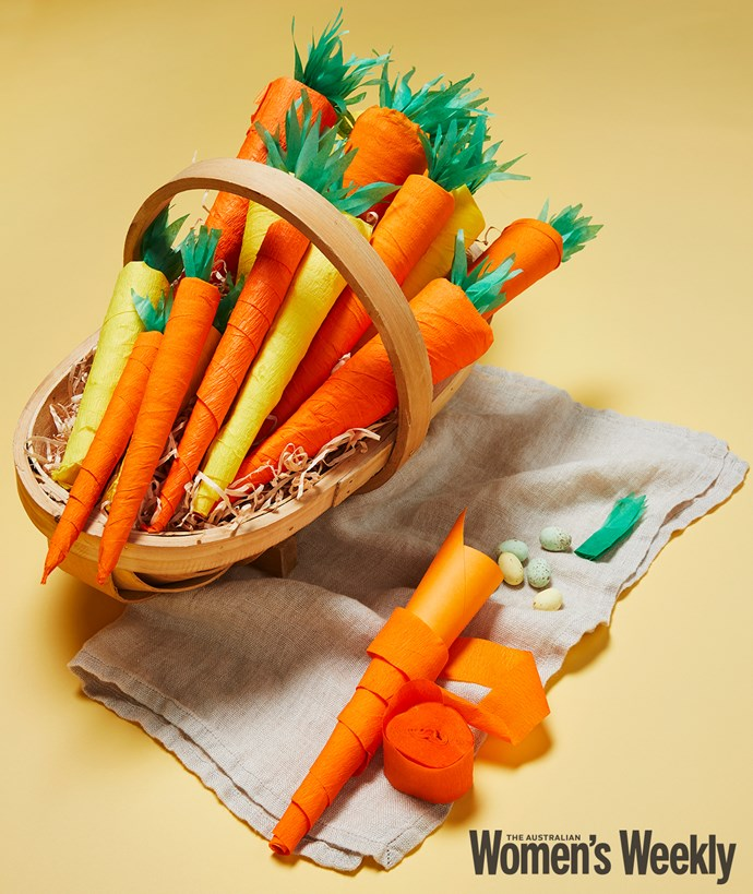These fun carrots not only look great, they conceal sweet treats to delight little and not so little ones. Great for Easter hunts or as take-home gifts for guests.