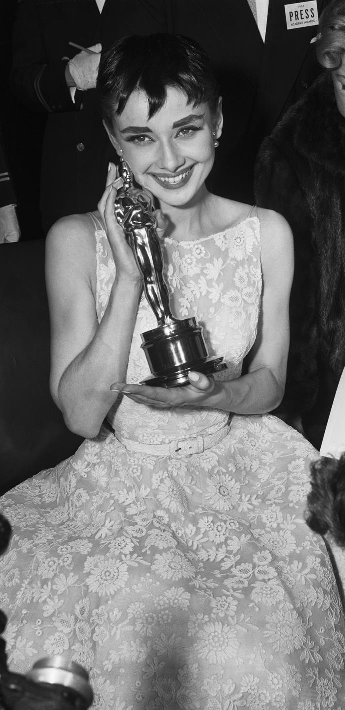 Audrey won an Academy Award for Best Actress for the movie Roman Holiday in 1954, as well as a Golden Globe and a BAFTA for Best British Actress for the same role. *(Image: Getty)*