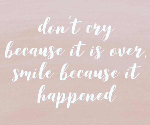 'Don't cry because it's over, smile because it happened.' *(Image: Instagram @millie1993)*