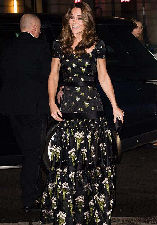 In March, Kate wore another Alexander McQueen dress that looked like a modified version of the gown she wore to the 2017 BAFTAs. *(Image: Getty)*