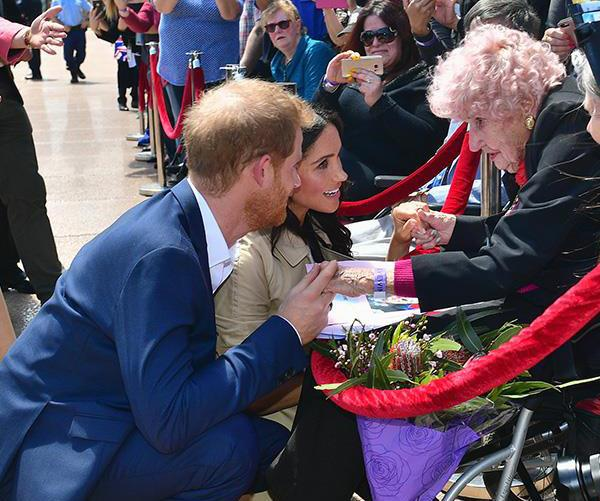 The moment Meghan met Daphne on the royal tour last year. *(Image: Getty)*
