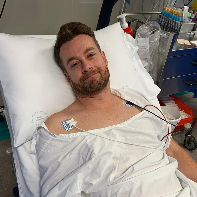 Grant was admitted to hospital more than a week ago after sustaining a bad back injury. *(Image: Instagram / @chezzidenyer)*
