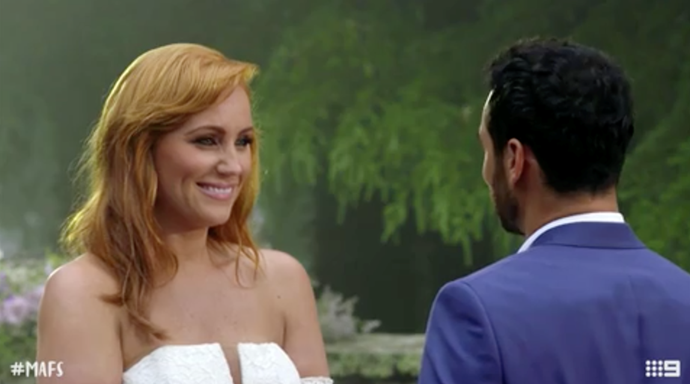 Cam made *MAFS* history when he proposed to Jules during their final vows. *(Image: Channel Nine)*