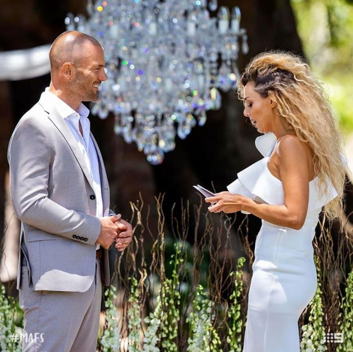 Heidi and Mike during their final vows on *MAFS*. *(Source: Channel 9)*