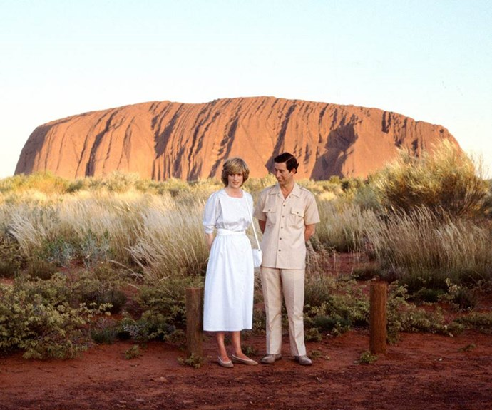 A fresh-faced Charles and Di visited Uluru back in 1983. *(Image: Getty Images)*