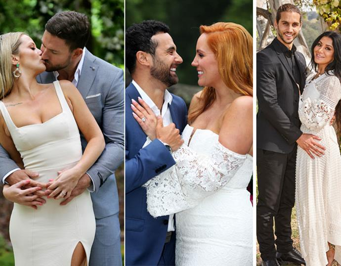 Australia, after what feels like a million weeks of watching *MAFS*, these were your last-remaining couples before Jess and Dan broke it off just a week after the finale aired. Ain't love grand? *(Images: Channel Nine)*