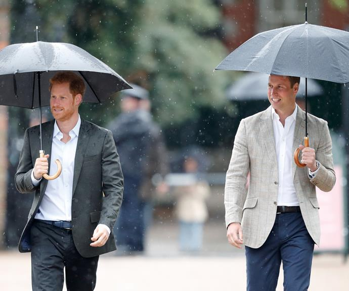 Prince Harry and William on a mission, in the rain. *(Image: Getty)*