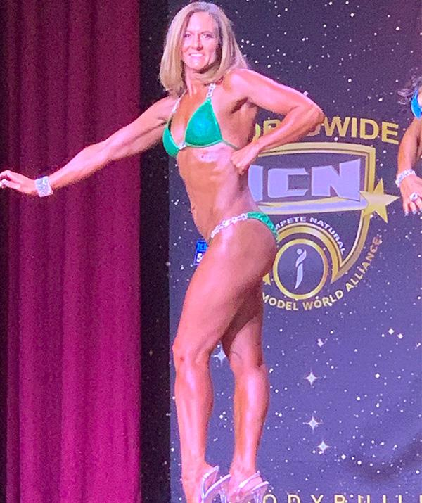 Transformed! Natalie Joyce looks incredible as she takes the stage. *(Image: Supplied)*