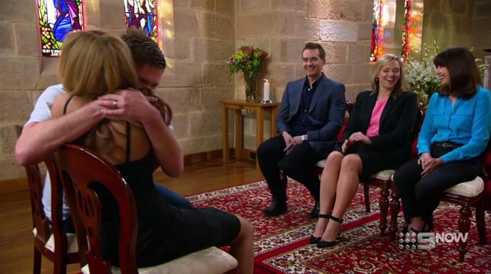 "Alex and Zoe at their final ""decision day"" ceremony INSIDE a church. *(Source: Channel 9)*"