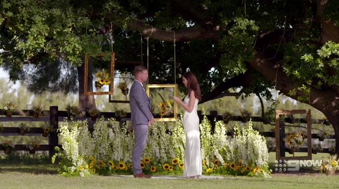 Dean Wells and Tracey Jewel on the set of MAFS 2018. *(Source: Channel 9)*
