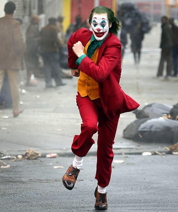 Joaquin Phoenix dressed as the Joker. *(Image: Steve Sands)*
