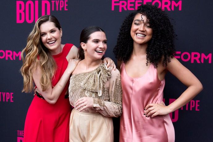 Stars of *The Bold Type*, Meghann Fahy, Katie Stevens and Aisha Dee. *(Image: Getty)*