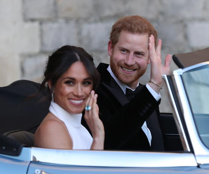 Meghan famously wore Princess Diana's aquamarine ring to her wedding reception. *(Image: Getty)*