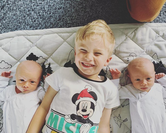 Lenny (centre) with this twin brothers Mack and Vinny. *(Image: @jimmyrees/Instagram)*