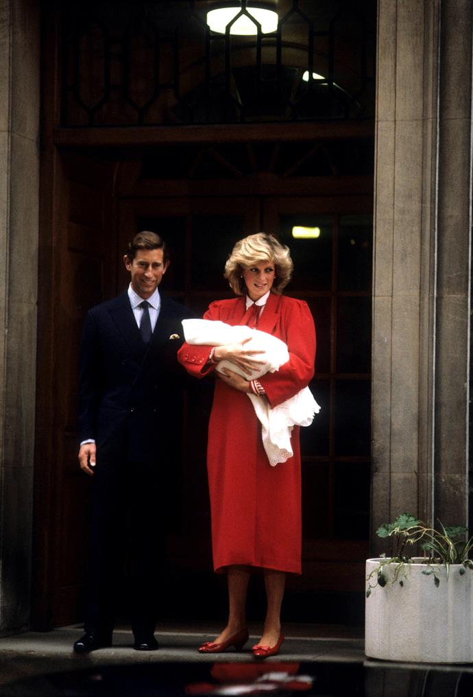 Two years later, the royal did it all again upon the arrival of Prince Harry. The second time she'd stepped outside the Lindo Wing with husband Prince Charles by her side and her baby swaddled in her arms, a new royal tradition was officially born - the royal baby photo call. *(Image: Getty)*