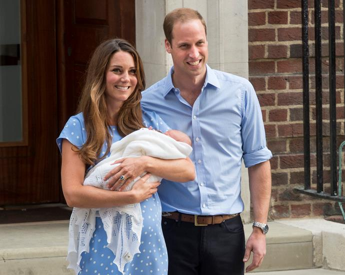 "In 2013, Duchess Catherine and Prince William followed in the late Princess's footsteps, introducing their royal baby to the world at [St Mary's Lindo Wing](https://www.nowtolove.com.au/royals/british-royal-family/what-its-like-for-duchess-kate-to-give-birth-at-lindo-wing-46412|target=""_blank""), shortly followed by a photo call outside the front doors. Kate even wore a polka dot ensemble, much like the one Diana wore when introducing a young William. <br><br> During the birth, it is understood no less than 20 medical professionals were involved, including midwives, surgical staff, a paediatrician and anesthetists. No small production here! *(Image: Getty)*"