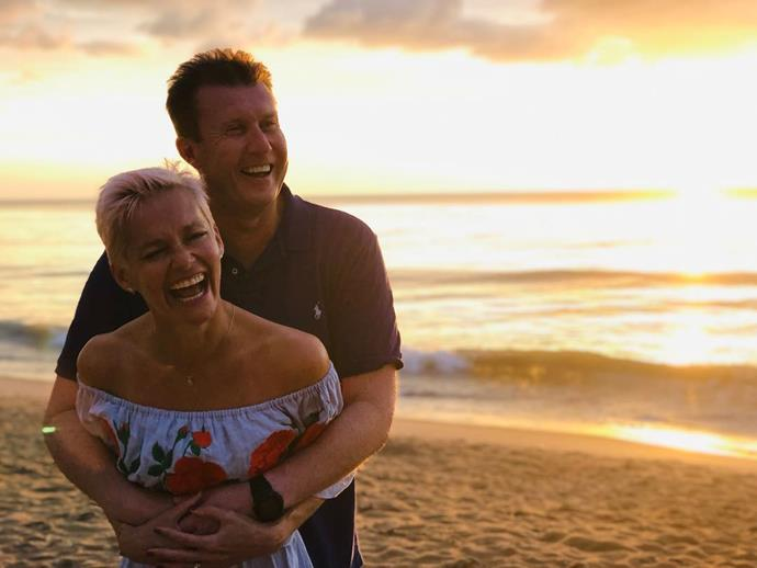 Peter and Jess sharing a laugh on holidays. *(Image: @jessjrowe/Instagram)*
