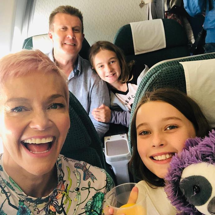 Jess and Peter with their daughters Violet and Allegra. *(Image: @jessjrowe/Instagram)*