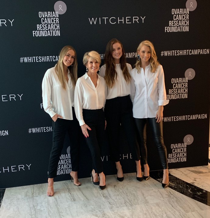 White Shirt Campaign ambassadors (from left) Steph Claire Smith, Julie Bishop, Laura Henshaw and Anna Heinrich.