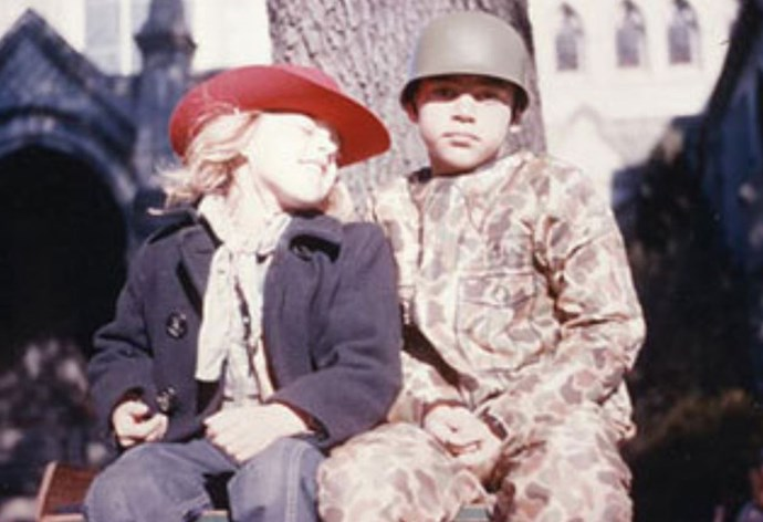 """You'd barely recognise her here, but a young Ellen DeGeneres was clearly a fan of her bro from the get-go. Posting the cute throwback picture to Instagram, she wrote: """"Happy #NationalSiblingsDay to this handsome soldier. Love, your favorite cowgirl. @vancedegeneres"""" *(Image: Twitter / @TheEllenShow)*"""