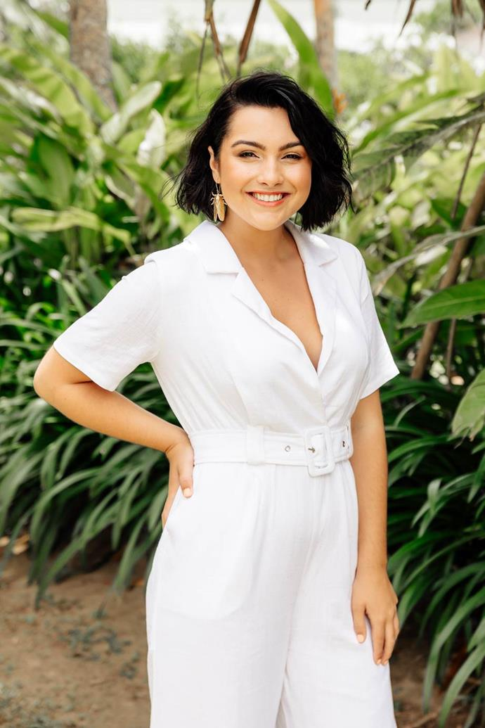 Cat Henesy-Smith on the set of *Bachelor in Paradise*. *(Source: Network Ten)*