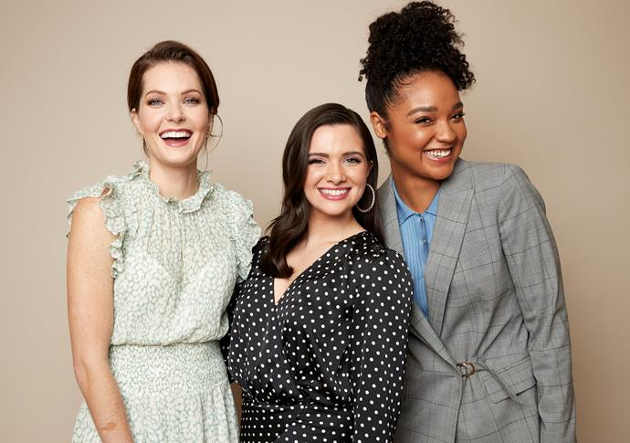 Meghann Fahy, Katie Stevens and Aisha Dee are re-defining female friendships on *The Bold Type*. *(Image: Getty)*
