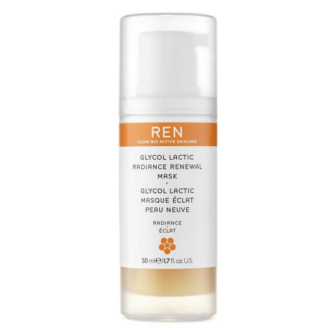"Ren Glycol Lactic Radiance Renewal Mask $71 *([mecca.com.au](https://www.mecca.com.au/|target=""_blank""|rel=""nofollow"")).*"