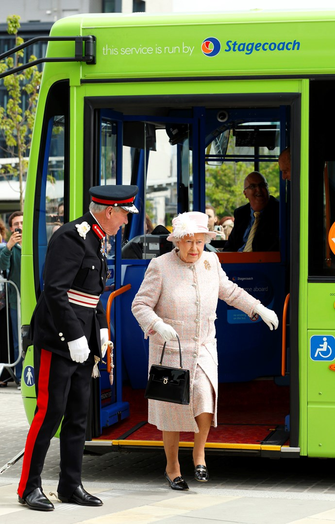 The 92-year-old breezily steps off a public bus, unassisted. *(Image: Getty)*
