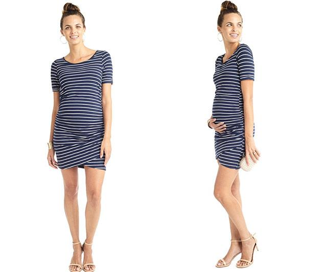 """Navy + stripes + a double layer of stretchy, quality jersey fabric = absolute winner! The [Lila Wrap Hem Maternity Dress](https://mama-muse.com/products/ruched-double-layer-wrap-hem-maternity-dress