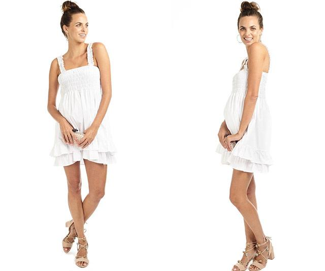 """This is the ideal little white dress for a special occasion - before or after your pregnancy! [Mama Muse's Anaïs Ruffled Maternity Day Dress](https://mama-muse.com/products/ruffled-maternity-day-dress