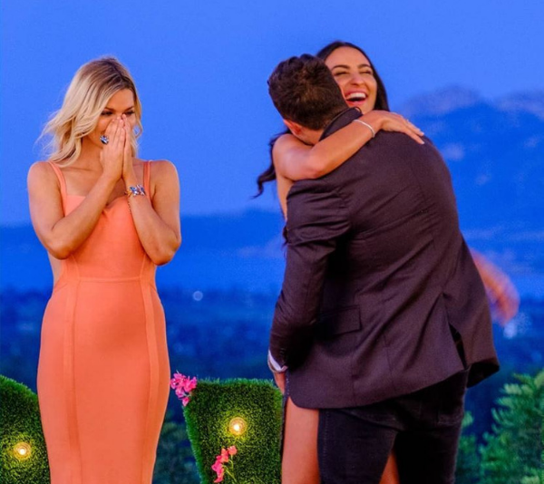 Sophie Monk with the winners of *Love Island* 2018, Grant Crapp and Tayla Damir. *(Source: Channel 9)*