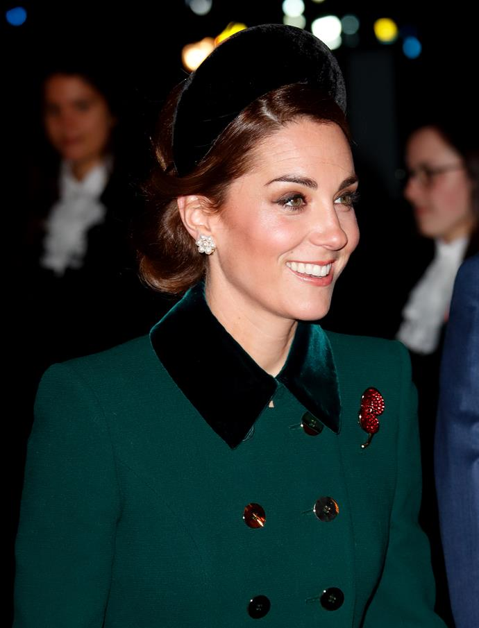 Kate's headband designed by Jane Taylor was all kinds of chic at the November 2018 Armistice commemorations. *(Image: Getty)*
