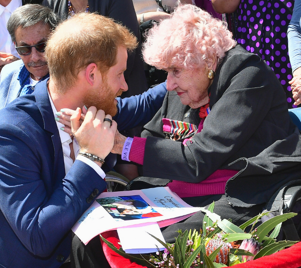 Prince Harry with Daphne during his latest tour to Australia in 2019. *(Source: Getty)*